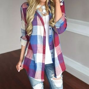 Women's Colorful 3/4 Sleeve Button Down